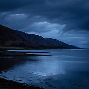 Last light Loch Linnhe from Corran, Highland, Scotland.