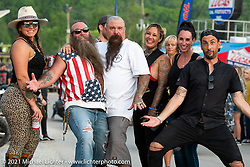 V-Twin Visionary's Jeff Holt with his wife Maggie Monge and friends at the Tennessee Motorcycles and Music Revival at Loretta Lynn's Ranch. Hurricane Mills, TN, USA. Saturday, May 22, 2021. Photography ©2021 Michael Lichter.