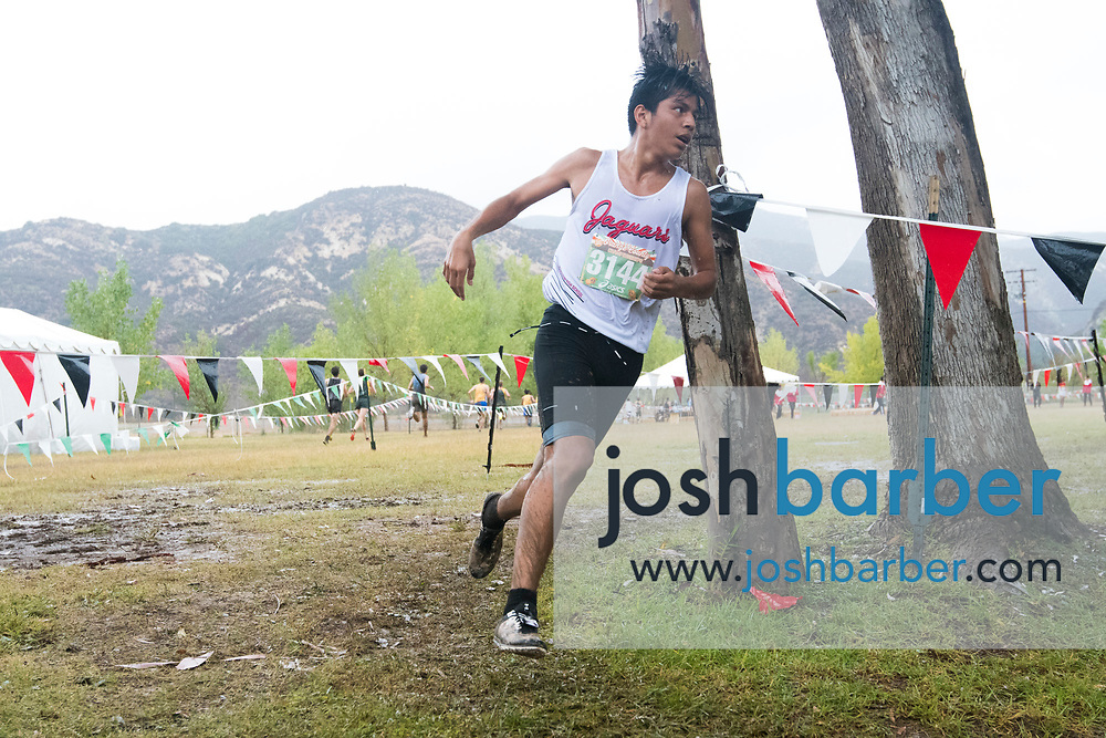 Segerstrom's Ruben Garcia during the Boys Varsity D2 race at the Orange County Cross Country Championships  at Oak Canyon Park on Saturday, October 13, 2018 in the unincorporated community of Silverado, Calif. (Photo by Josh Barber, Contributing Photographer)