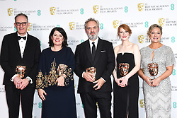 Callum McDougall, Pippa Harris, Sam Mendes, Krysty Wilson-Cairns and Jayne-Ann Tenggren with their award for Outstanding British Film at the 73rd British Academy Film Awards held at the Royal Albert Hall, London.. Photo credit should read: Doug Peters/EMPICS