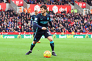 David Silva of Manchester City in action. Barclays Premier league match, Stoke city v Manchester city at the Britannia Stadium in Stoke on Trent, Staffs on Saturday 5th December 2015.<br /> pic by Chris Stading, Andrew Orchard sports photography.