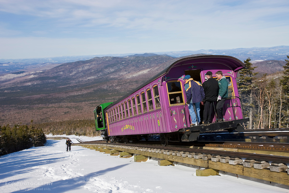 The Cog Railway in winter on Mount Washington in New Hampshire's White Mountains.  This was the first trip up the mountain for the first diesel powered engine ever used on the railway.  March, 2008.