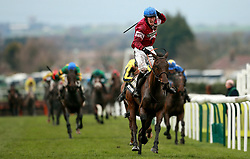 Jockey David Mullins celebrates on Rule The World after winning the Crabbie's Grand National Chase during Grand National Day of the Crabbie's Grand National Festival at Aintree Racecourse, Liverpool.