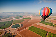 Hot air balloon photographed in the Jezreel Valley, Israel