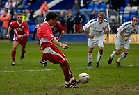 Photo: Jed Wee.<br />Tranmere Rovers v Bristol City. Coca Cola League 1. 22/04/2006.<br /><br />Bristol City's Craig Woodman scores their third goal from the penalty spot.