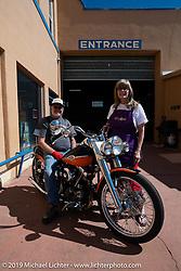 Joe and Sandra Rodman with Joe's Shovelhead at the Run to Raton. Raton, NM. USA. Sunday July 22, 2018. Photography ©2018 Michael Lichter.