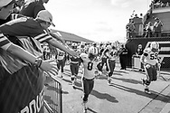 Ameer Abdullah greets fans as he runs onto the field at Purdue on Oct. 12, 2013. © Aaron Babcock