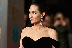 © Licensed to London News Pictures. 18/02/2018. ANGELINA JOLIE arrives on the red carpet for the EE British Academy Film Awards 2018, held at the Royal Albert Hall, London, UK. Photo credit: Ray Tang/LNP