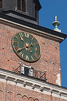 Detail of the clock on the Town Hall tower in Rynek Glowny Market Square in Krakow Poland