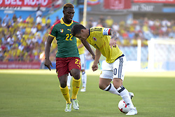 June 13, 2017 - Getafe, Spain - James Rodríguez  of Colombia fights the ball before the mark Jean-Patrick Abouna of Cameroon, friendly match played in the stadium Coliseum Alfonso Perez, in Getafe, Tuesday June 13, 2017. (Credit Image: © Luis Salgado/NurPhoto via ZUMA Press)