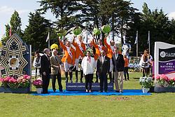 Team Holland <br /> Winners of the Furusiyya FEI Nations Cup<br /> León Thijssen, Hendrik Jan Schuttert, Rob Ehrens (chef d'equipe), Frank Schuttert, Albert Voorn<br /> Rémi Clero (President CSIO LA Baule), Yves Métaireau (Major of La Baule) Carmen Barrera (FEI) ,H.E. Dr. Mohammed Ismail Al-Sheikh (Ambassador of the Custodian of the Two Holy Mosques in Paris), Jacques Robert (FFE)<br /> CSIO La Baule 2013<br /> © Dirk Caremans