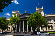 Melbourne Trades Hall, or Victorian Trades Hall Council, Melbourne, is the world's oldest trade union building. It is the birthplace of organisations like the Victorian Labor Party and the Australian Council of Trade Unions. Four flags fly from the roof of the building: the Australian Flag, the Eureka Flag, the Australian Aboriginal flag, and the red flag.