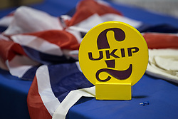 © Licensed to London News Pictures . 29/09/2017 . Torquay , UK . UKIP display at the conference venue . The UK Independence Party Conference at the Riviera International Centre . UKIP is due to announce the winner of a leadership election which has the potential to split the party . Photo credit: Joel Goodman/LNP