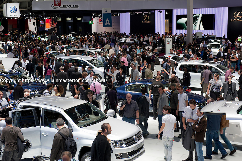Many people visiting the Paris Motor Show 2010