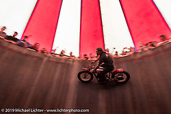 Charlie Ransom rides the American Motordrome Wall of Death on Sunday at the Handbuilt Motorcycle Show. Austin, TX. April 12, 2015.  Photography ©2015 Michael Lichter.