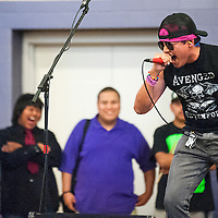041913       Cable Hoover<br /> <br /> Jordan Begay showcases his singing talent during talent show and fundraiser at Miyamura High School Friday.
