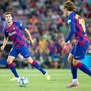 BARCELONA, SPAIN - August 25:  Sergi Roberto #20 of Barcelona and Antoine Griezmann #17 of Barcelona in action during the Barcelona V  Real Betis, La Liga regular season match at  Estadio Camp Nou on August 25th 2019 in Barcelona, Spain. (Photo by Tim Clayton/Corbis via Getty Images)