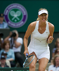 02.07.2011, Wimbledon, London, GBR, WTA Tour, Wimbledon Tennis Championships, Final, im Bild Maria Sharapova (RUS) celebrates winning a point but she was to ultimately lose the Ladies' Singles Final on day twelve of the Wimbledon Lawn Tennis Championships at the All England Lawn Tennis and Croquet ClubEXPA Pictures © 2011, PhotoCredit: EXPA/ Propaganda/ David Rawcliffe +++++ ATTENTION - OUT OF ENGLAND/UK +++++