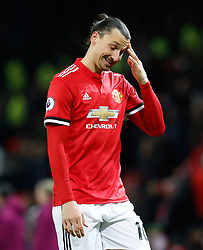 Manchester United's Zlatan Ibrahimovic shows his dejection aftre the final whistle of the Premier League match at Old Trafford, Manchester.