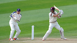 Somerset's Tom Cooper drives the ball. Photo mandatory by-line: Harry Trump/JMP - Mobile: 07966 386802 - 26/05/15 - SPORT - CRICKET - LVCC County Championship - Division 1 - Day 3 - Somerset v Yorkshire - The County Ground, Taunton, England.