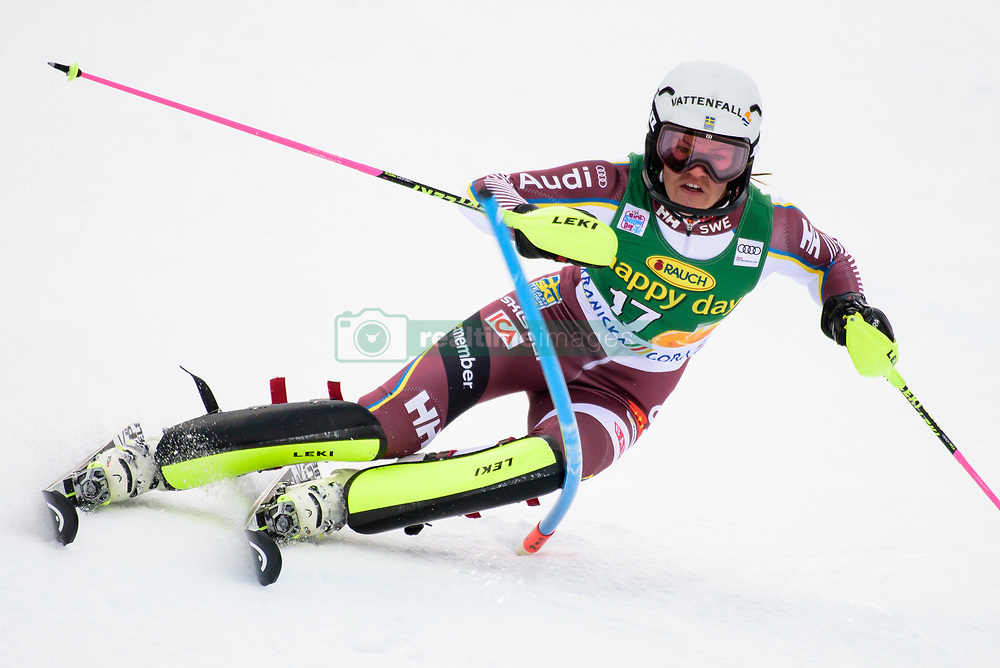 January 7, 2018 - Kranjska Gora, Gorenjska, Slovenia - Anna Swenn Larsson of Sweden competes on course during the Slalom race at the 54th Golden Fox FIS World Cup in Kranjska Gora, Slovenia on January 7, 2018. (Credit Image: © Rok Rakun/Pacific Press via ZUMA Wire)