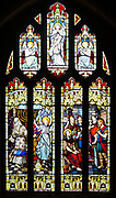 Stained glass window Saint John the Baptist Church, Shipton Moyne, Gloucestershire, England, UK