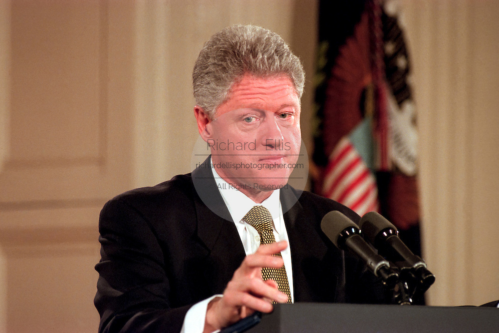 US President Bill Clinton during a press conference at the White House July 1, 1999 in Washington, DC.