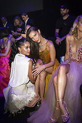 Laura Harrier, Bella Hadid attend the fashion show during Bvgalri Gala Dinner held at the Stadio dei Marmi in Rome, Italy on June 28, 2018. Photo by Marco Piovanotto/ABACAPRESS.COM