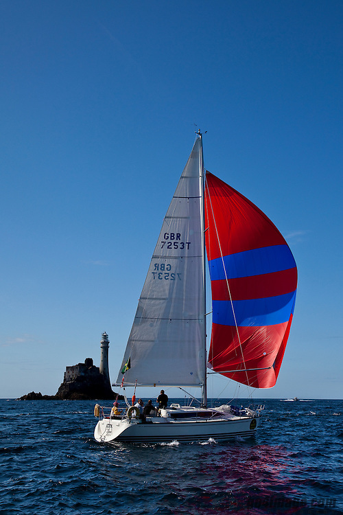 David Speakman's Iilex of Upnor in the Rolex Fastnet Race to the famous lighthouse on the West Cork coastline....
