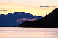 Alaska's Inside Passage at sunset