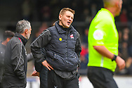 Andy Dawson of Scunthorpe United (Manager) reacts during the EFL Sky Bet League 1 match between Scunthorpe United and Bradford City at Glanford Park, Scunthorpe, England on 27 April 2019.