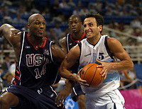 27/08/04 - ATHENS  - GREECE -  - BASKETBALL SEMIFINAL MATCH   - Indoor Olympic Stadium - <br />ARGENTINA win (89) over USA United States of America (81) <br />Argentine celebration after win the match.<br />Argentine player N*5 EMANUEL GINOBILI and USA N*14 ODOM LAMAR.<br />© Gabriel Piko / Argenpress.com / Piko-Press