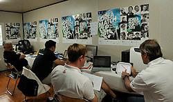 Talking through the days racing in the WMRT office. Photo:Chris Davies/WMRT