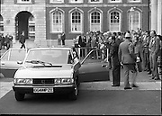 EEC Leaders Meet At Dublin Castle.   (N4)..1979..29.11.1979..11.29.1979..29th November 1979..At Dublin Castle the leaders of the countries within the EEC held a summit conference to discuss issues which would affect the EEC over the forthcoming years. .Image shows the French Delegation arriving at the summit.