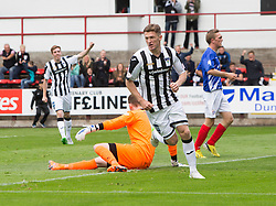 Dunfermline's David Hopkirk cele scoring their fifth goal. <br /> Dunfermline 7 v 1 Cowdenbeath, SPFL Ladbrokes League Division One game played 15/8/2015 at East End Park.
