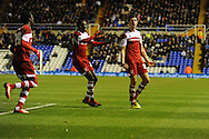 Middlesbrough's Daniel Sanchez Ayala (r) celebrates scoring his sides 2nd goal during the Skybet football league championship match, Birmingham city v Middlesbrough at St.Andrew's in Birmingham, England on Sat 7th Dec 2013. pic by Jeff Thomas/Andrew Orchard sports photography.