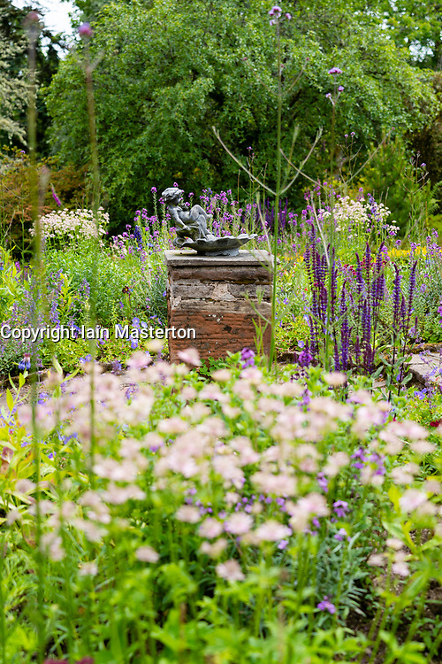 Detail of ornate fountain in Walled Garden at NTS Geilston Garden in Cardross, Argyll and Bute, Scotland, UK