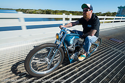 Bill Dodge out for a ride on his custom built race inspired Panhead during Daytona Bike Week. FL, USA. March 14, 2014.  Photography ©2014 Michael Lichter.