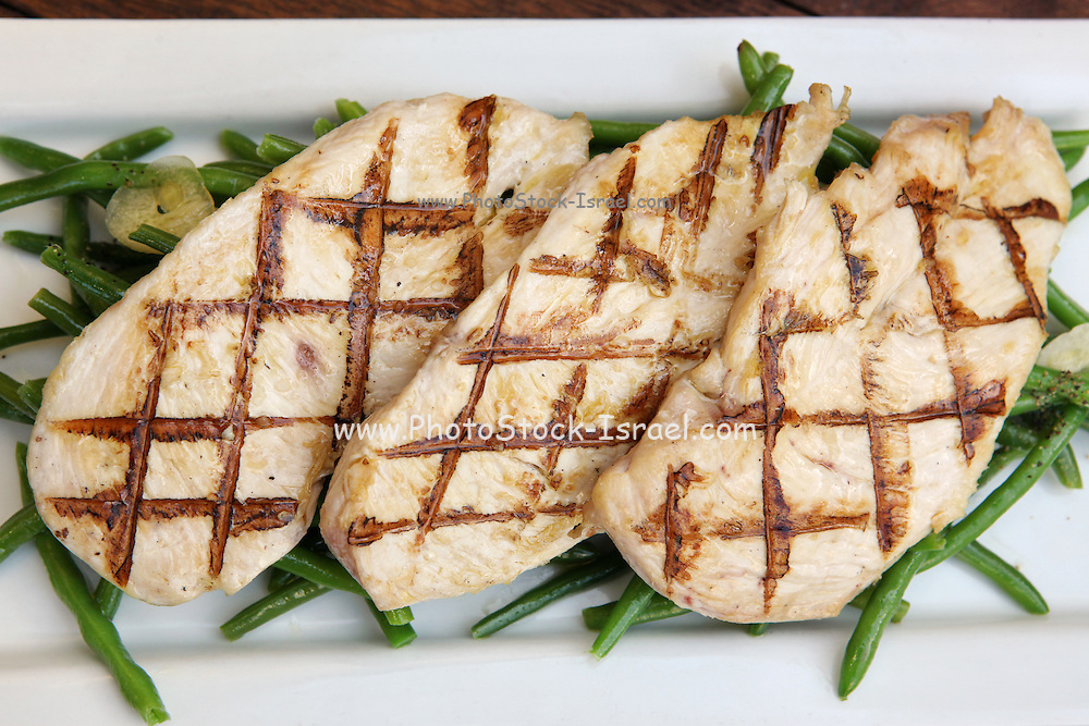 Char Grilled Chicken breast on green beans