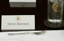 February 22, 2017 - Washington, District of Columbia, United States of America - United States President Donald Trump's Chief Strategist Steve Bannon's name tag sits on the a table before a lunch in the Roosevelt Room of the White House on February 22, 2017 in Washington, DC. .Credit: Olivier Douliery / Pool via CNP (Credit Image: © Olivier Douliery/CNP via ZUMA Wire)