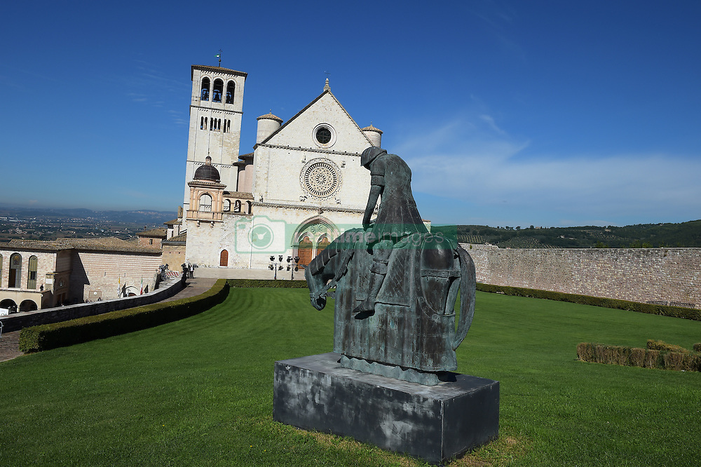 The statue of Saint Francis in front of the Saint Francis basilic where Pope Francis attends the '30th World Day of Prayer for Peace' a inter-religious meeting in the Italian pilgrimage town of Assisi, Italy on September 20, 2016. Pope Francis welcomed some 450 leaders representing a rainbow of faiths to the hilltop Italian town of Assisi to commemorate the 30th anniversary of a daylong prayer for peace here called by Pope John Paul II in 1986. Photo by Eric Vandeville/ABACAPRESS.COM