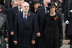© Licensed to London News Pictures. 12/11/2017. London, UK. British Labour party leader JEREMY CORBYN and British Prime Minister THERESA MAY attend a Day Ceremony at the Cenotaph war memorial in London, United Kingdom, on November 13, 2016 . Thousands of people honour the war dead by gathering at the iconic memorial to lay wreaths and observe two minutes silence. Photo credit: Ray Tang/LNP