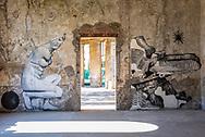 Terme del Corallo or Acque della salute.Street-art works in the Sala Mescita