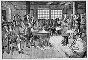 William Penn (1644-1718) English Quaker and colonialist, founder of Pennsylvania. Penn in conference with Colonialists, 1682.Engraving 'Harper's Weekly', 1883.