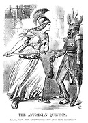 "The Abyssinian Question. Britannia. ""Now, then, King Theodore! How about those prisoners?"""