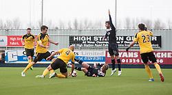 Livingston Simon Mensing brings down Falkirk's Craig Sibbald for their penalty.<br /> Falkirk 1 v 1 Livingston, Scottish Championship game today at The Falkirk Stadium.<br /> © Michael Schofield.