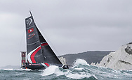 """The Seven Star Triple Crown as part of Lendy Cowes week 2017. The Volvo Ocean Race Team """"Sun Hung Kai/Scallywag"""" shown here rounding the Needles. Skippered by David Witt<br /> Credit Lloyd Images"""
