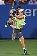 KEVIN ANDERSON hits a backhand during his match on day four at the Citi Open at the Rock Creek Park Tennis Center in Washington, D.C.