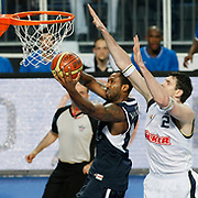 Fenerbahce's Darjus LAVRINOVIC (R) and Efes Pilsen's Bootsy THORNTON (L) during their Turkish Basketball Legague Play-Off semi final first match Fenerbahce between Efes Pilsen at the Sinan Erdem Arena in Istanbul Turkey on Tuesday 24 May 2011. Photo by TURKPIX
