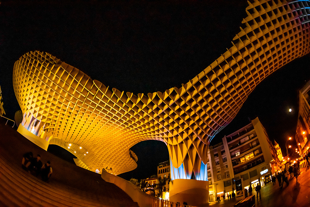 Las Setas (mushrooms), official name: Metropol Parasol, a wooden structure designed by German architect Jurgen Mayer. It claims to be the largest wooden structure in the world. Seville, Andalusia, Spain.